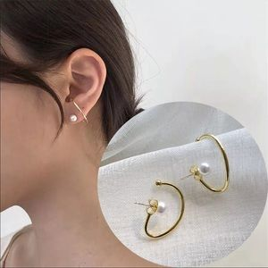 🆕 Twist Pearl Geometric Earring Cuffs